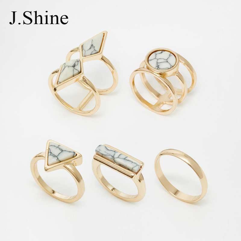 Nový design letní české vysoce kvalitní kamenné prsteny pro ženy Geometrické Anillos Zlatý barevný prsten Joias prohlášení Bijoux Femme