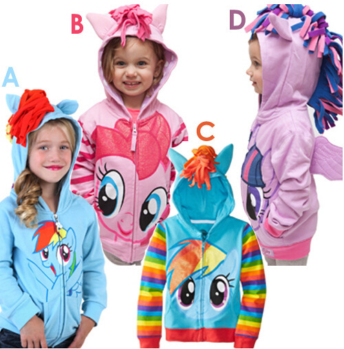 NEW 2016 my little pon y girl hoodie with wings back Cartoon jacket sweatshirt for girls Spring coat with hat children clothing