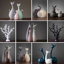 Ceramic Crafts Home Decoration Deer Cats Modern Sculpture Arts Furnishings