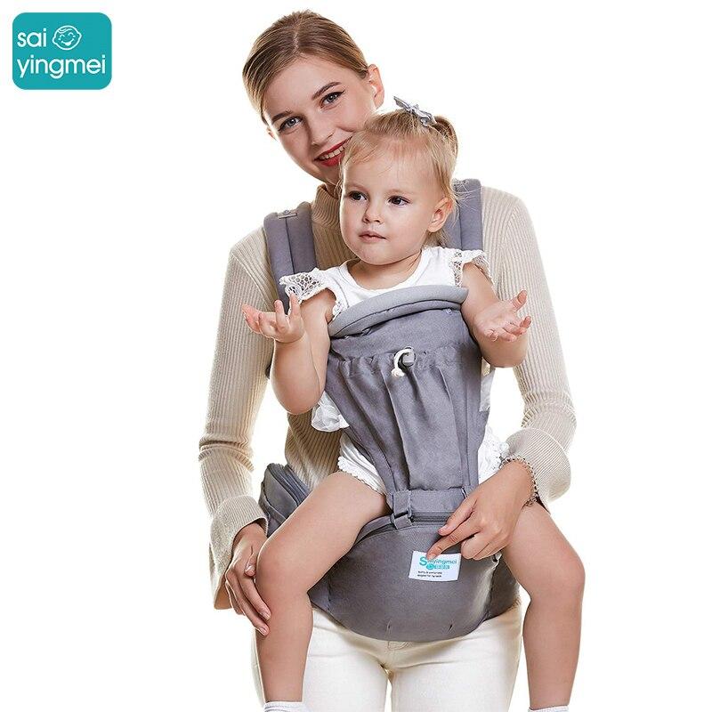 Saiyingmei 2-en-1 ergonomique kangourous bébé élingues transporteur, Hipseat réglable respirant sac à dos bébé porteur pour 0-36 mois