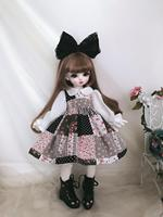 Doll clothes 1/6 doll dress colorful dress with big hair band for 1/6 1/4 BJD SD doll accessories skirt+hair decoration