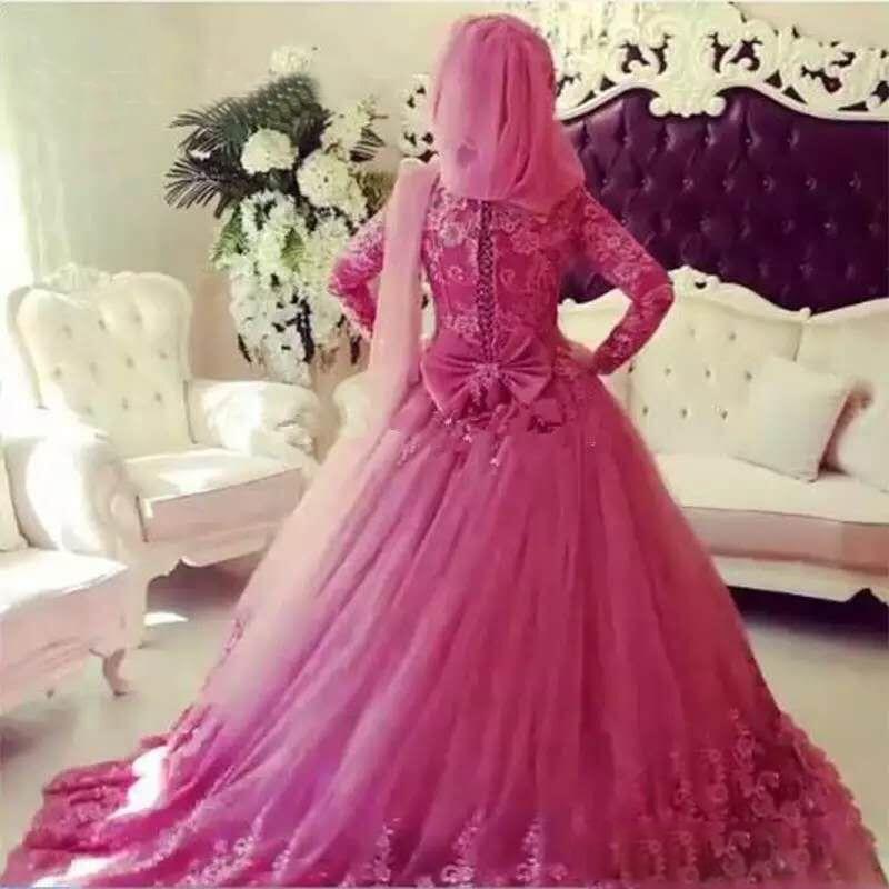 Muslim Wedding Dresses 2019 Applique Long Sleeves High Neck Lace Islamic Wedding Dress Vintage Dubai Bridal Gowns - 2