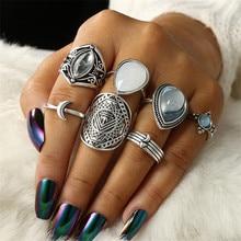 DIEZI, anillo Vintage bohemio, conjunto de anillos para articulaciones Midi de gota de agua azul claro, joyería Boho, nudillo gitano, anillo de plata, 7 unids/set