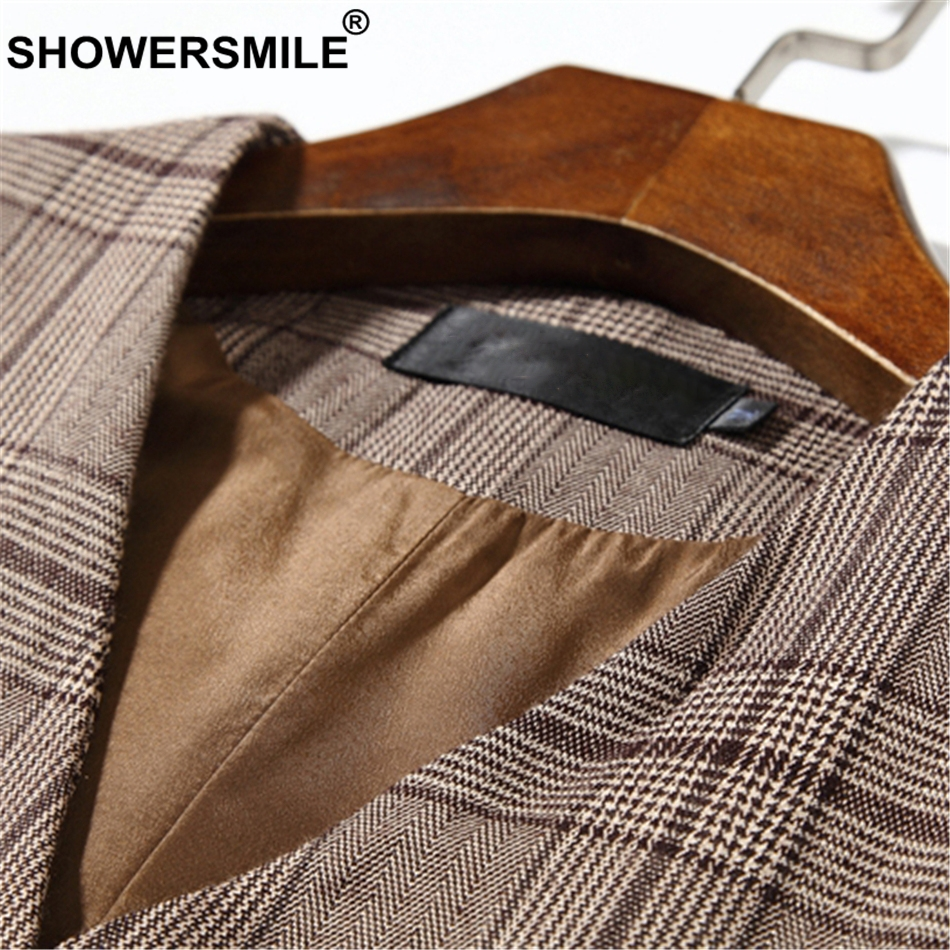 SHOWERSMILE Brown Plaid Mens Double Breasted Waistcoat Plus Size Houndstooth Dress Vest Men Sleeveless Jacket Man Vintage Gilet in Vests from Men 39 s Clothing