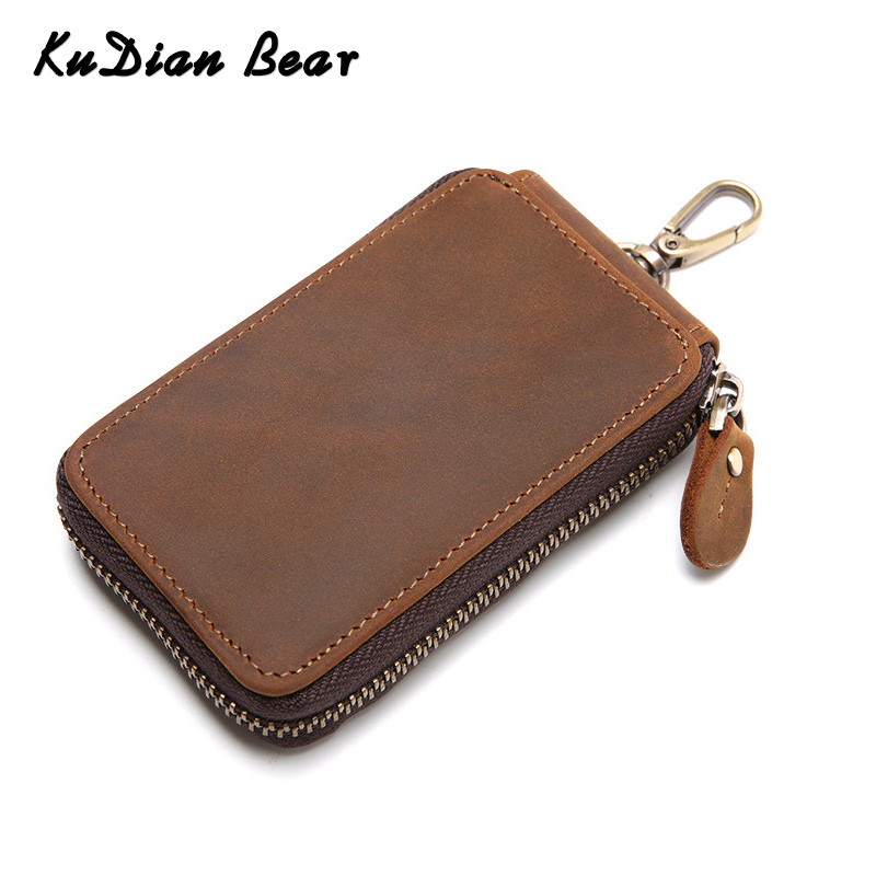 KUDIAN BEAR Zipper Car Key Wallets Casual Men Key Holder Purse Leather Key Organizer Portable Case Porta Chave BIK039 PM49