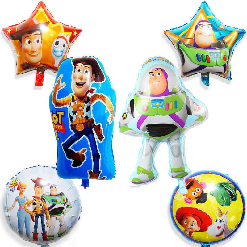 6 pçs/lote estilo misto incluem captain Woody Buzz Lightyear balões de festa balões folha balões de aniversário de criança brinquedos para o miúdo
