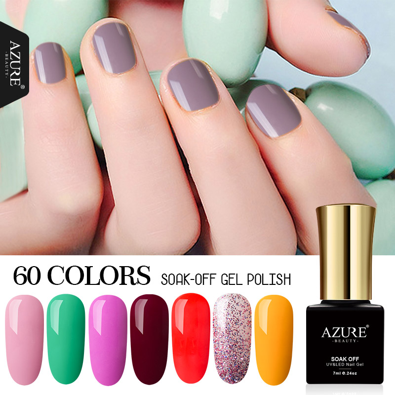 AZURE BEAUTY Gel Nail Paint Amarillo Rosa Color Esmalte en gel Esmalte de uñas Manicura 7 ml Esmalte en gel UV Soak Off Azure Nail Gel Polish