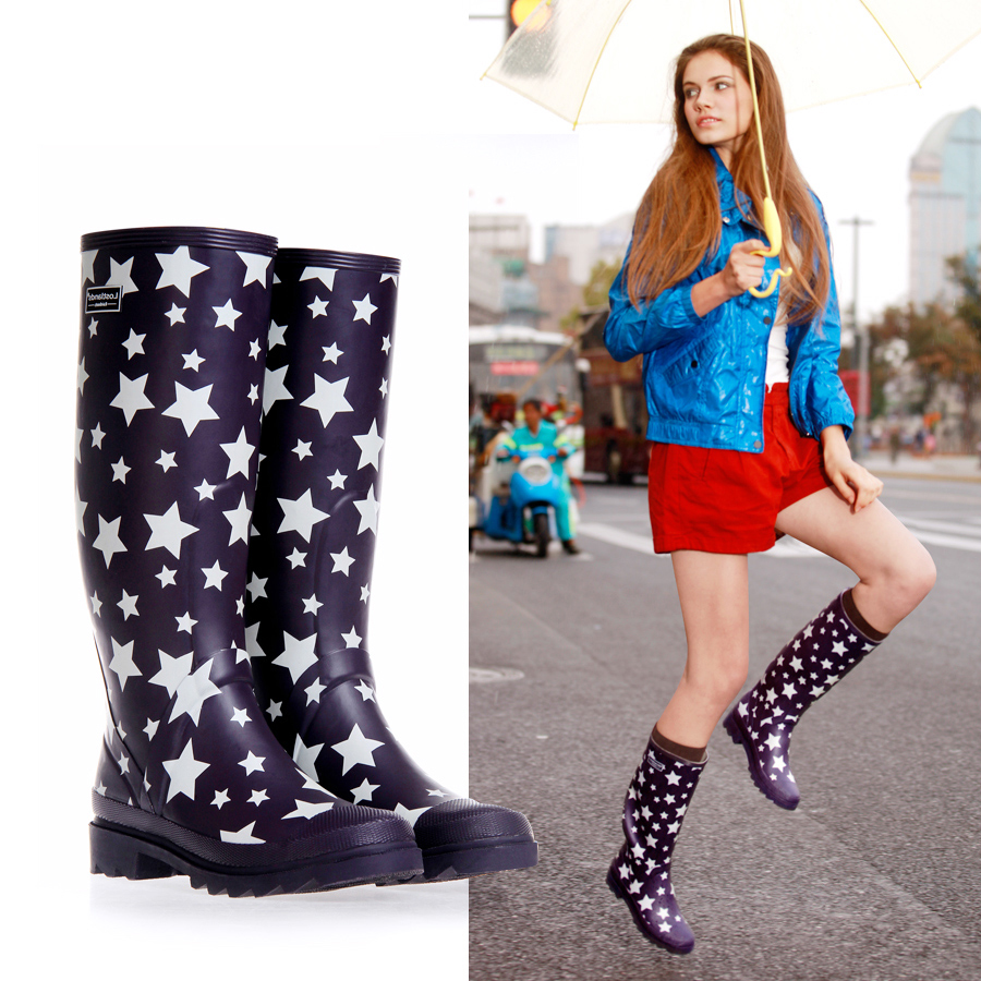 Womens Wellington boots rubber rain boots waterproof fashion high foot friendly boots for women
