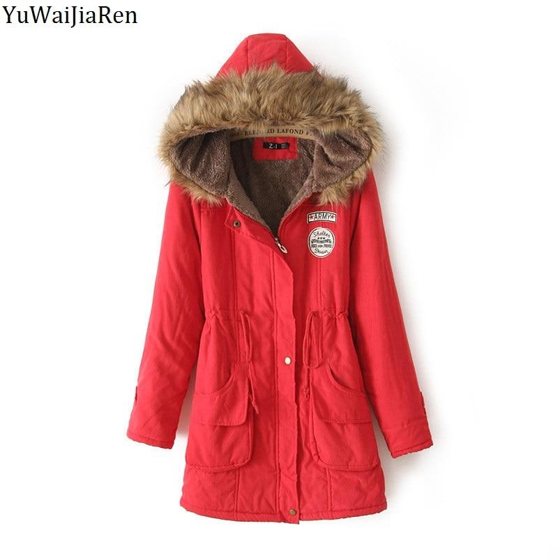 YuWaiJiaRen Winter Women Coat Parka Casual Outwear Military Hooded Coat Woman Clothes Fur Coats manteau