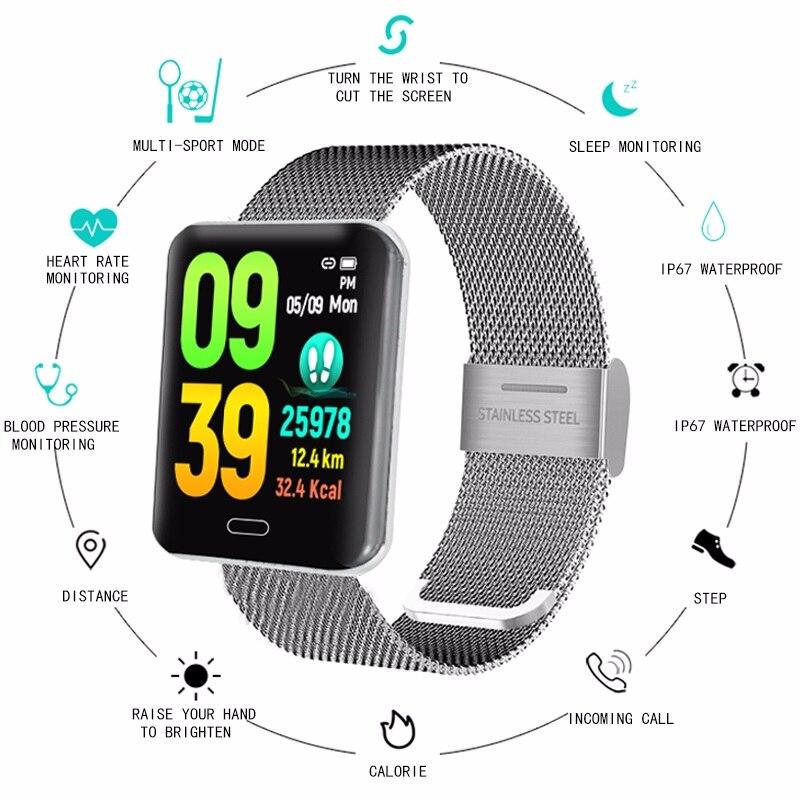 Novo Relógio Inteligente Tela Colorida de Freqüência Cardíaca Pressão Arterial Sports Tracker Passo Contador Inteligente Pulseira Sono Rastreador Atividade