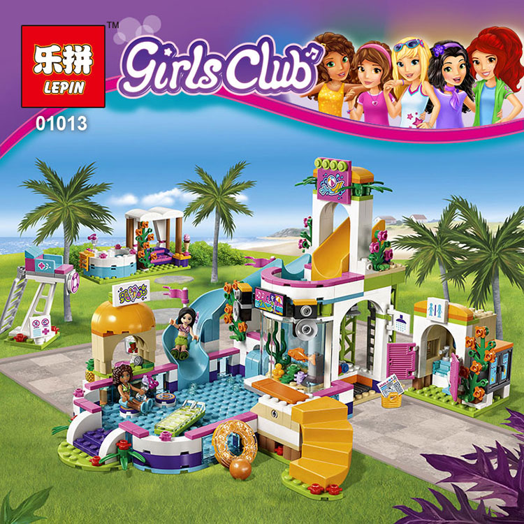 Lepin 01013 Girls Series The Heartlake Summer Pool Set model Educational Building Kit Blocks Bricks Compatible Toys Gift 41313 lepin 22001 pirate ship imperial warships model building block briks toys gift 1717pcs compatible legoed 10210