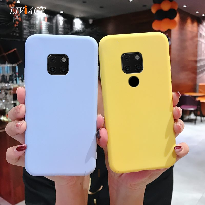 Matte Silicone Phone Case On For Huawei Mate 20 X Mate 20 Pro Candy Color Black Soft Tpu Back Cover Fundas Mate20X  Mate20 Pro