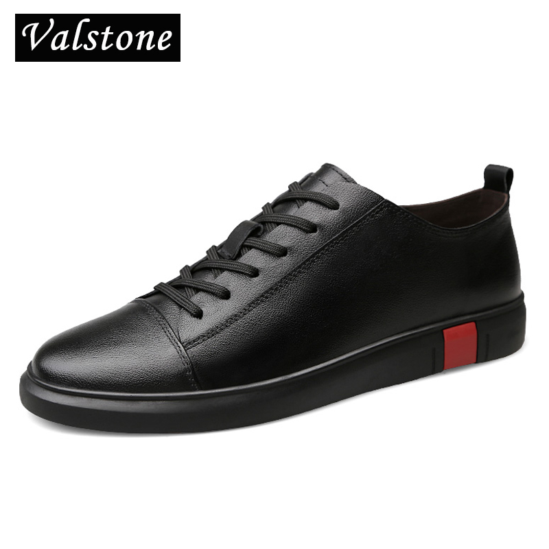 Valstone Luxury Brand Genuine leather shoes men Spring natural leather sneakers Quality designer footwear everyday Rubber