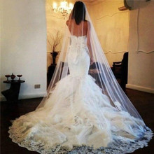 New White Ivory Bridal Veils Lace Appliques Alluring Cathedral Length One Layers Bridal Wedding Veil with Comb