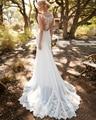 Amdml 2016 Chegada Chiffon Bainha Vestidos De Casamento Pescoço Namorada Sexy Correias Lindo Borboleta Voltar Lace Train Vestidos de Noiva