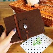 Cartoon Felt Storage Bag Brown Bear Digital Accessory Case for Mobile HDD , Power Bank USB Cable Charger Bags Travel Pouch