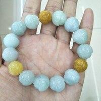 Genuine Natural Emeralds Lotus Flower Carving Beaded Bracelet Fashion Lucky Men and Women Bracelets 12mm Beads Strand Bracelet
