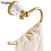 Towel Rings Solid Brass Gold Towel Holder Bath Shelf Towel Rack Hangers Luxury Bathroom Accessories Wall Mounted Towel Bar
