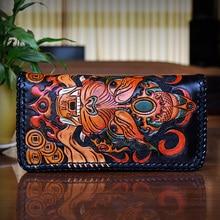OLG.YAT handmade men wallets retro hangbag Vegetable tanned leather wallet mens long zipper handbags cowhide wallet Chiwen pure