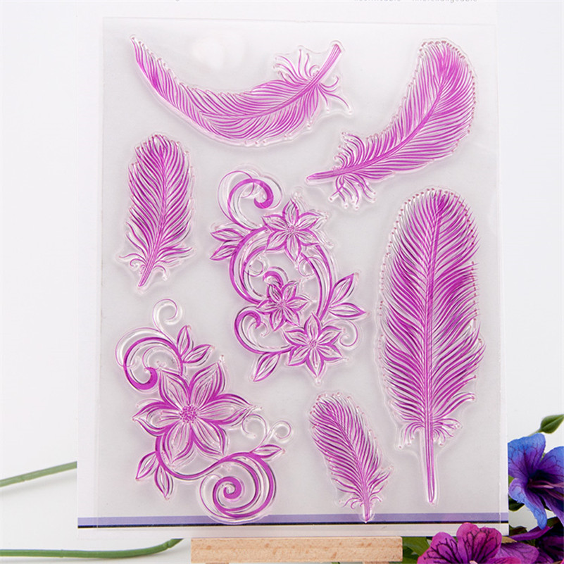 Feather lace design Scrapbook DIY photo Album paper cards rubber stamp clear stamp transparent stamp for christmas gift CC-006 wyf1017 scrapbook diy photo album cards transparent silicone rubber clear stamp 11x16cm camera