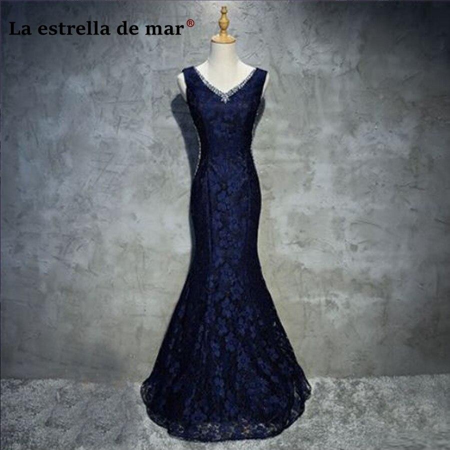 Vestidos DE festa vestido longo para casamento2018 lace crystal sexy mermaid navy blue   bridesmaid     dresses   wedding party   dress