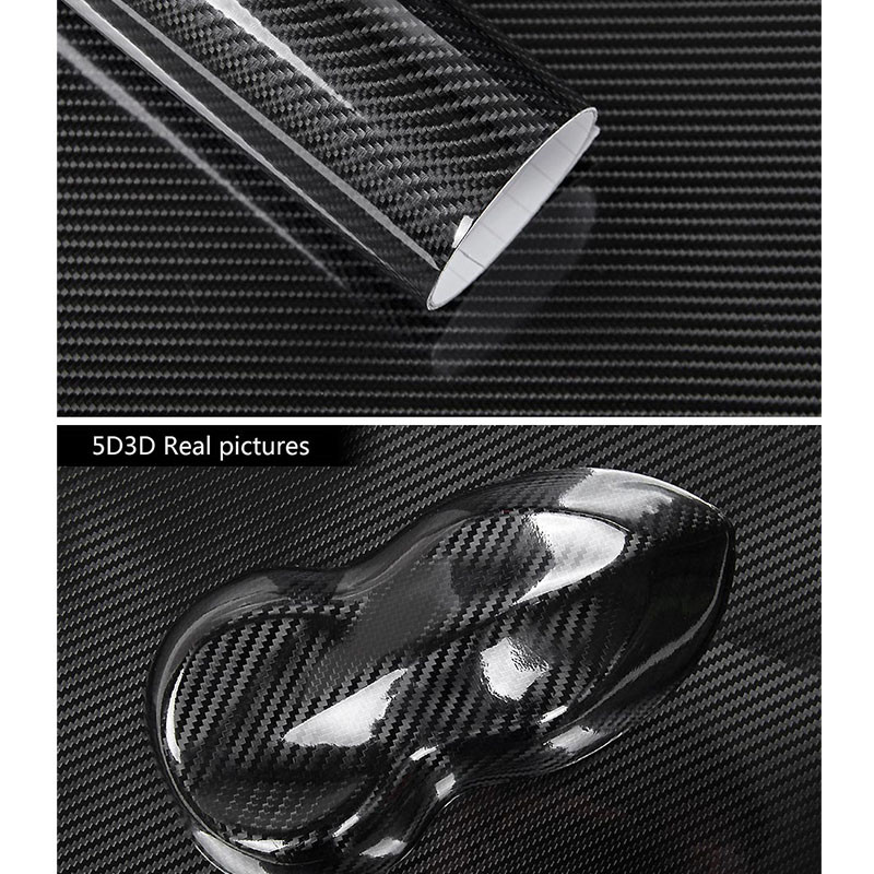 6D Gloss Carbon Fiber Vinyl Film Car Sticker Wrap Car Styling Accessories Car Film Glossy Car Stickers Waterproof