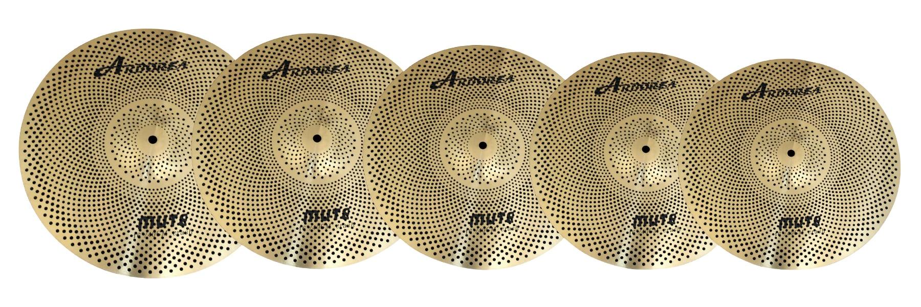 Arborea Glod-plating Mute Cymbal Pack 14''HH + 16'' Crash + 18'' Crash +20'' Ride+Cymbals Bag