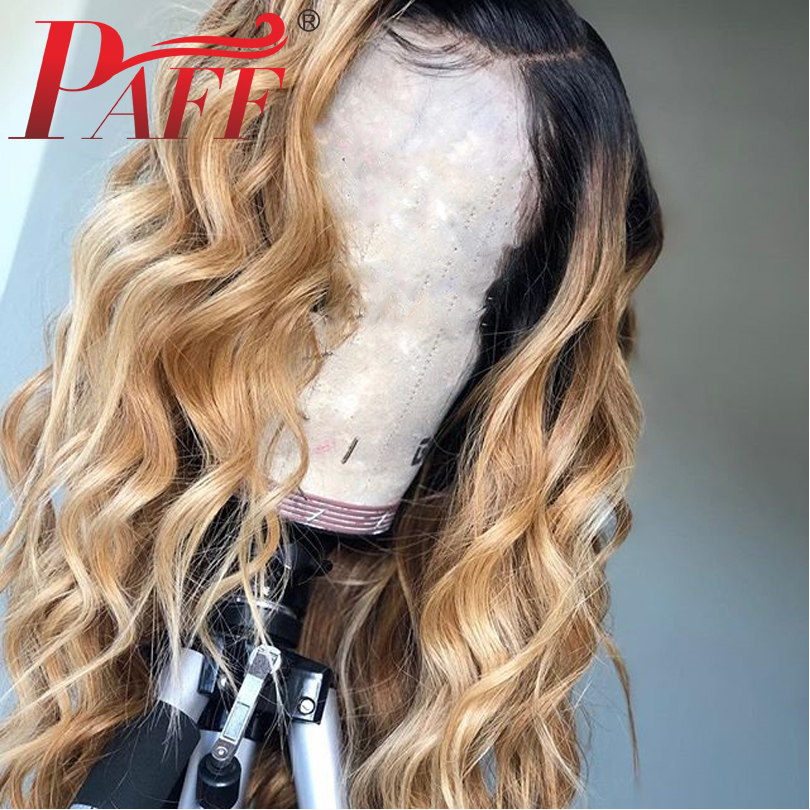 PAFF Ombre Blonde Lace Front Human Hair Wigs 1B27 Dark Roots Malaysia Loose wave Lace Front