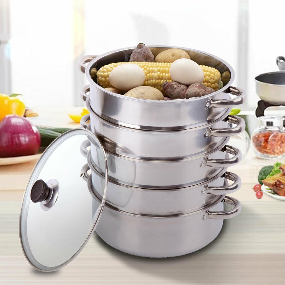 (Ship FROM EU) 5 Layers Cookware Steamers Cooking Tool Stainless Steel Steaming Pot 30cm Double Boils Mantowarka
