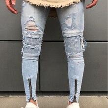 30b118ea2f Hola calle Ripped Biker Jeans hombres 2018 moda rodilla agujeros botón  cremallera Skinny Jeans Homme Hip Hop mendigos jóvenes de.