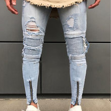 Hi Street Ripped Biker Jeans Men 2018 Fashion Knee Holes Button Zipper Skinny Jeans Homme Hip Hop Beggars Rock youth Denim Pants(China)