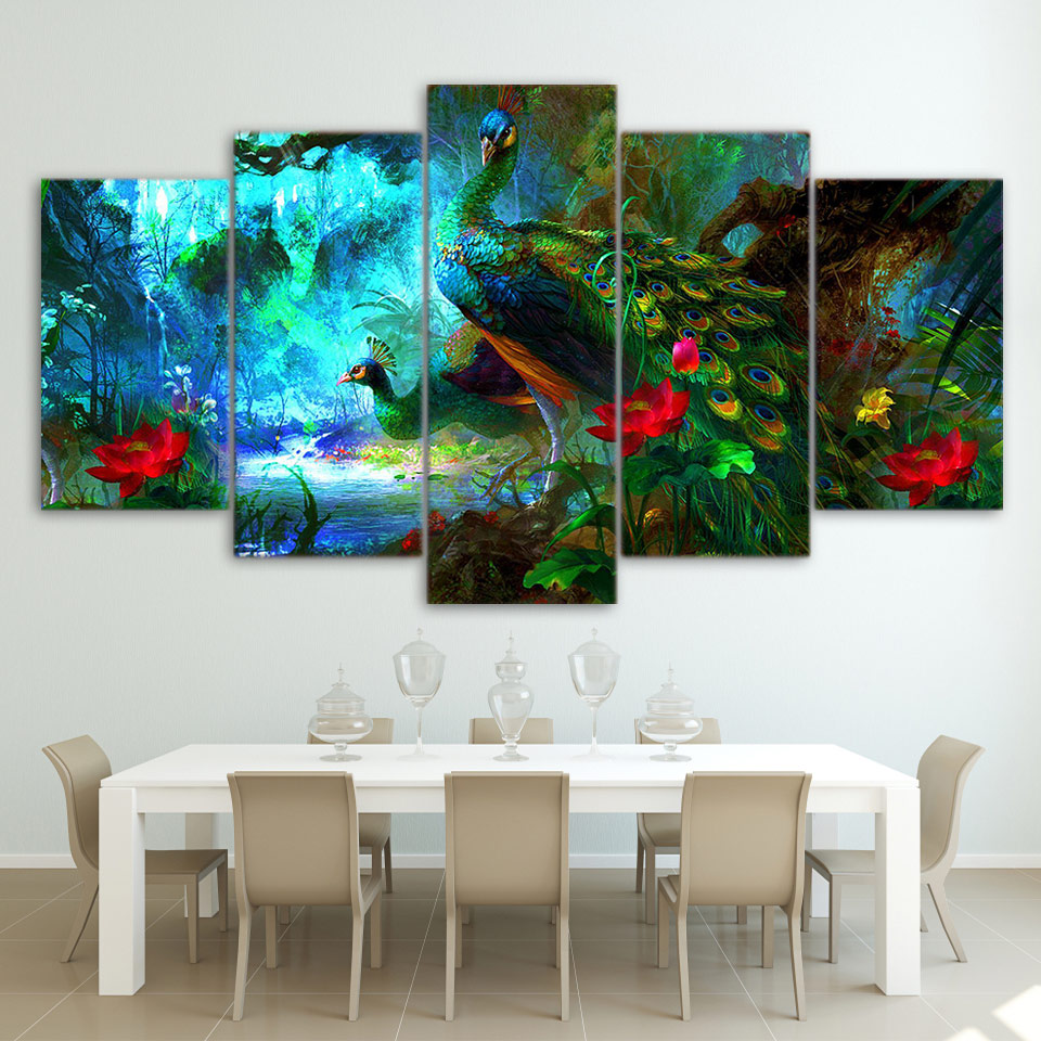 canvas wall art pictures frame home decor living room 5 pieces beautiful peacock painting hd. Black Bedroom Furniture Sets. Home Design Ideas