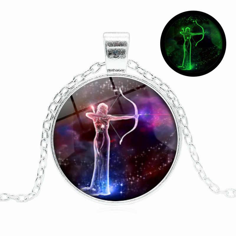 เรืองแสงใน Dark เครื่องประดับ Silver สีแก้ว Cabochon ราศีราศีตุลย์ Constellation สร้อยคอสร้อยคอผู้หญิง