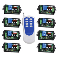 433mhz rf 1 transmitter and 8 receiver 110V 220v with code,1KM Long Distance Range RF Switch Customizable SKU: 5180
