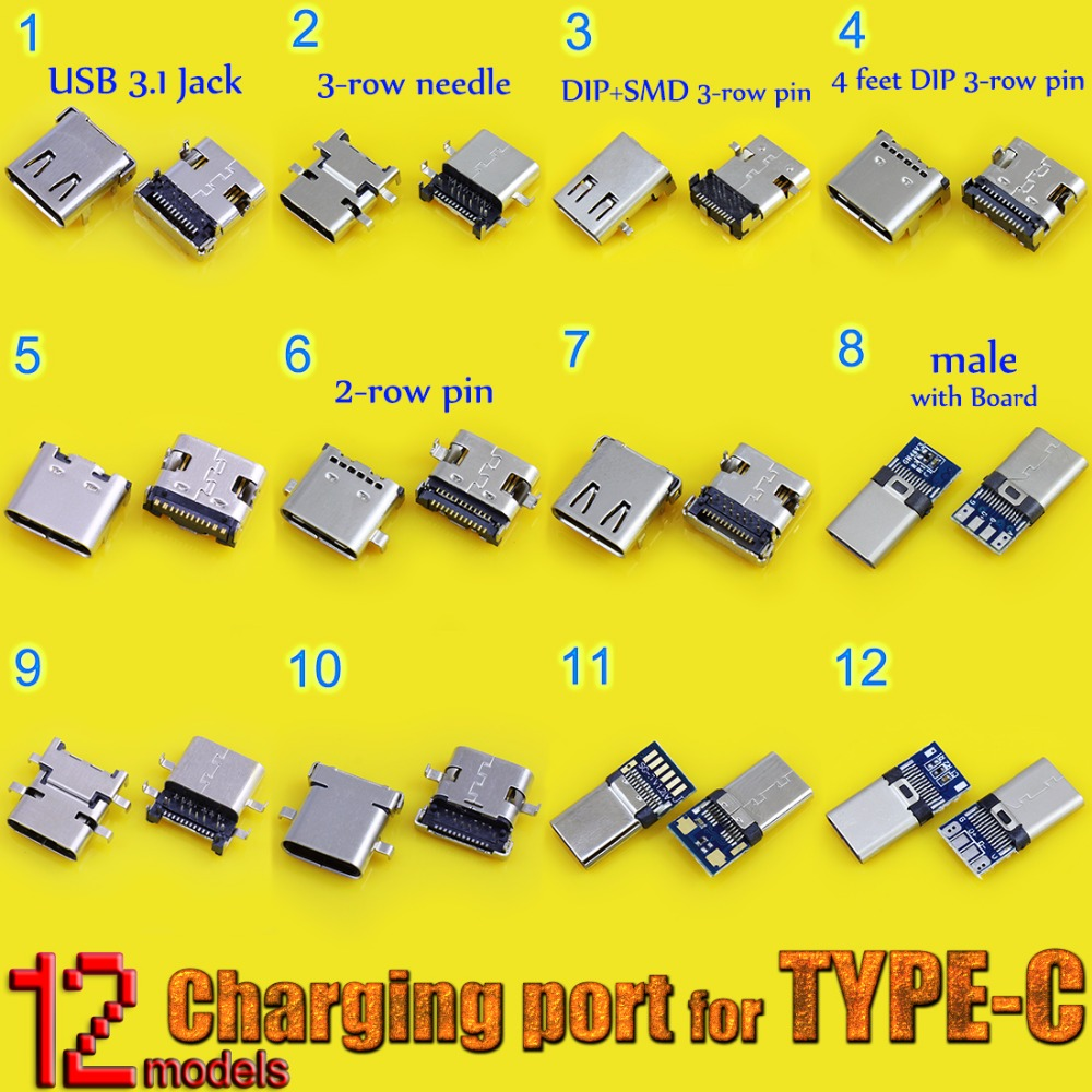 12models High Speed Data Interface Micro 3.1 Usb DIY Type-C USB 3.1 Type C Mother Socket Connector Charge Dock Port Plug