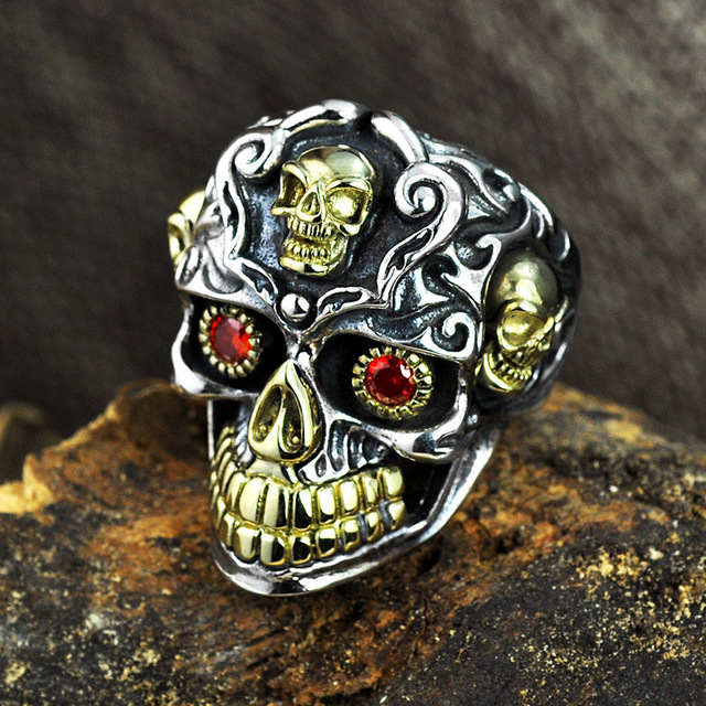 925 Sterling Silver Gothic Rings For Men Inlaid Natural Garnent Stone Punk Skull Ring Biker Personalized Gold Color Male Jewelry