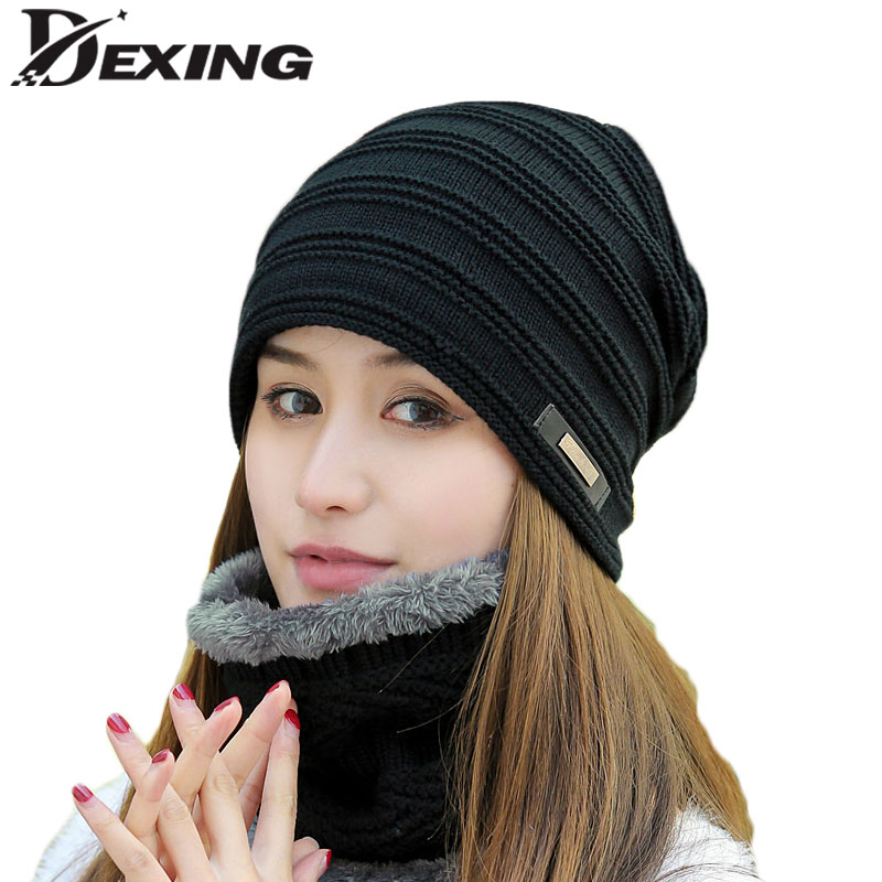soft elasticity thicken cashmere wool knee warmer supporter black pair [Dexing]neck warmer  knit scarf and cap set winter hat for woman thicken fur cashmere lining beanie scarf turban head balaclava