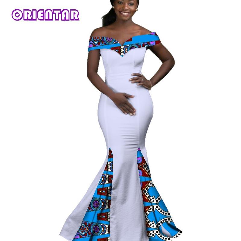 2018 robes africaines pour femmes Dashiki Batik cire impression Sexy Slash cou robe de soirée dame Grace longue robe de soirée WY2860