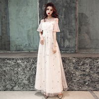 7ea349ceb3 Robe De Soiree Champagne Long A Line Formal Evening Dresses With Short  Sleeve Prom Gowns Elegant