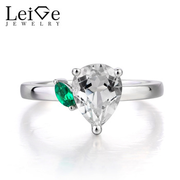 Leige Jewelry Natural White Topaz Ring Anniversary Ring Pear Cut Gemstone Solid 925 Sterling Silver November Birthstone Rings