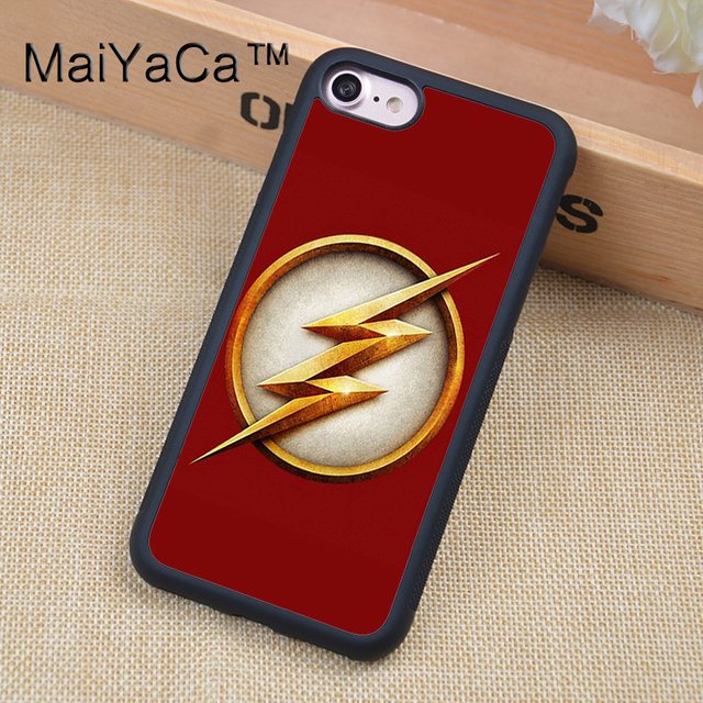 new style 3d81b 80f3e US $3.5 5% OFF|MaiYaCa The Flash DC Comics Logo Soft Rubber Mobile Phone  Case OEM For iPhone 6 6S Plus 7 8 Plus X 5 5S 5C SE Back Cover Shell-in ...