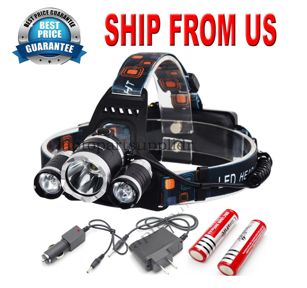 Hunting Camping <font><b>Hiking</b></font> USB 8000lm 3x CREE T6 LED Headlamp Lamp Headlight Headlamp Head Torch Rechargeable Light 18650 <font><b>Battery</b></font>