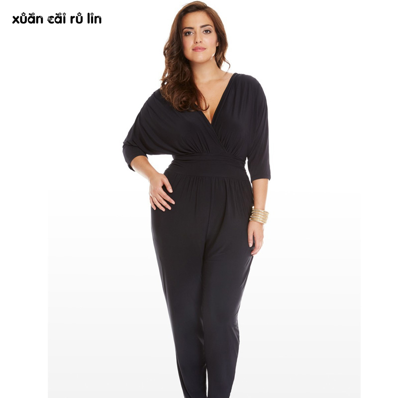 plus size 3xl 2017 Batwing Sleeve loose tunic jumpsuit sexy work Office macacao purple black long pants Casual elegant overalls  1