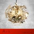 Современный из прозрачного стекла шар подвесные лампы из нержавеющей стали Цветы Листья подвесные светильники для украшения дома