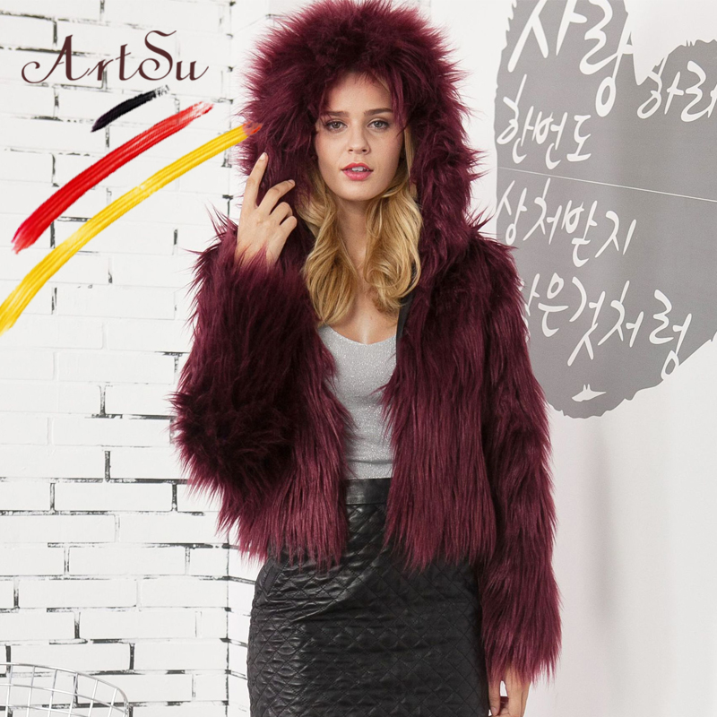 48c03c85ef3 ArtSu Fashion Winter Faux Fur Coat Plus Size 3XL Pink White Black Casual  Fluffy Jacket 2018 Women Short Outwear Fur Party Coats-in Faux Fur from  Women s ...