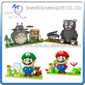 Mini Qute YZ japanese anime game totoro Kumamon super mario luigi kids block plastic building block boys educational gift toy