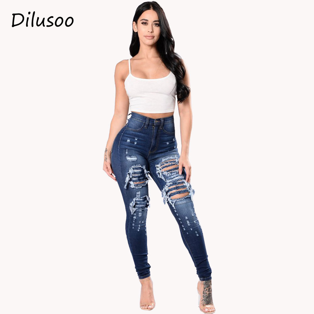 Dilusoo Women High Waist   Jeans   Pants Elastic Holes   Jeans   Europe Pencil Pants Ripped Casual 4 Season Female Trousers   Jeans   2018