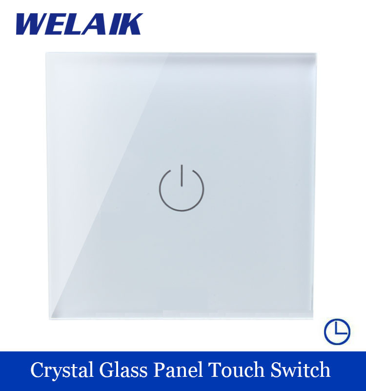 WELAIK Crystal Glass Panel Switch White Wall Switch EU Time Touch Switch Screen Light Switch 1gang1way AC110~250V A1911DSW/B smart home us au wall touch switch white crystal glass panel 1 gang 1 way power light wall touch switch used for led waterproof