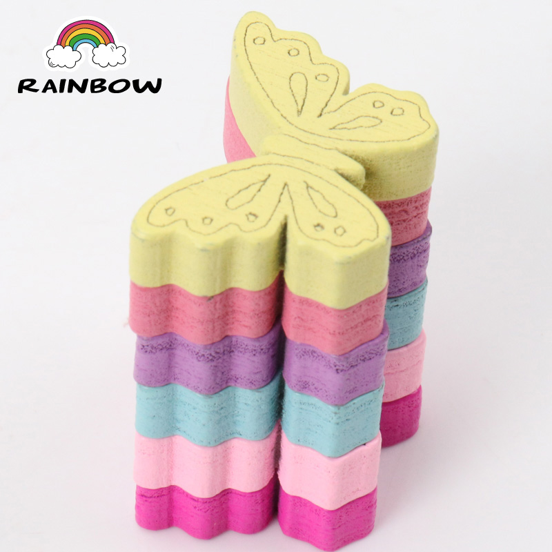 Mixed Colours Butterfly Pattern Wooden Material Spacer Beads For Jewelry Making DIY 24x18mm 50pcs