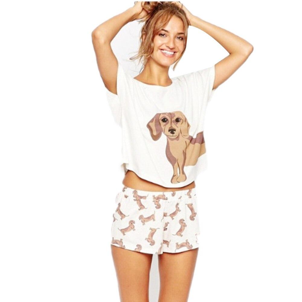 Women Pajamas Set Cute Animal Print Knit Elasti Female Loose Shirt Elastic Waist Laddies Pajamas Home Clothes 2 Pieces Set For